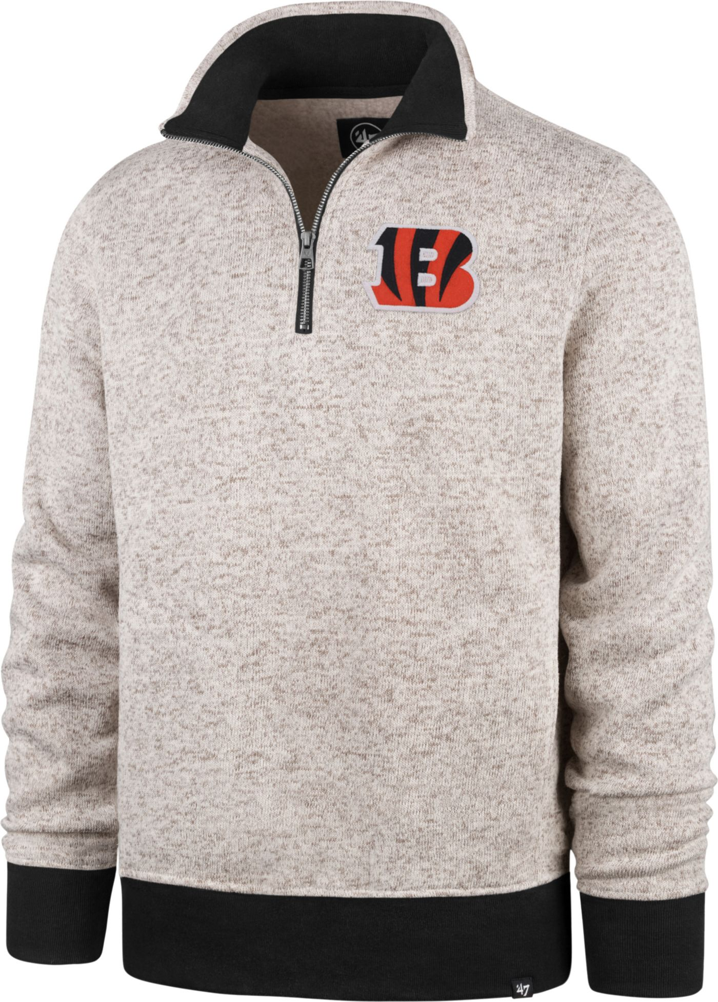 '47 Men's Cincinnati Bengals Oatmeal Kodiak Quarter-Zip