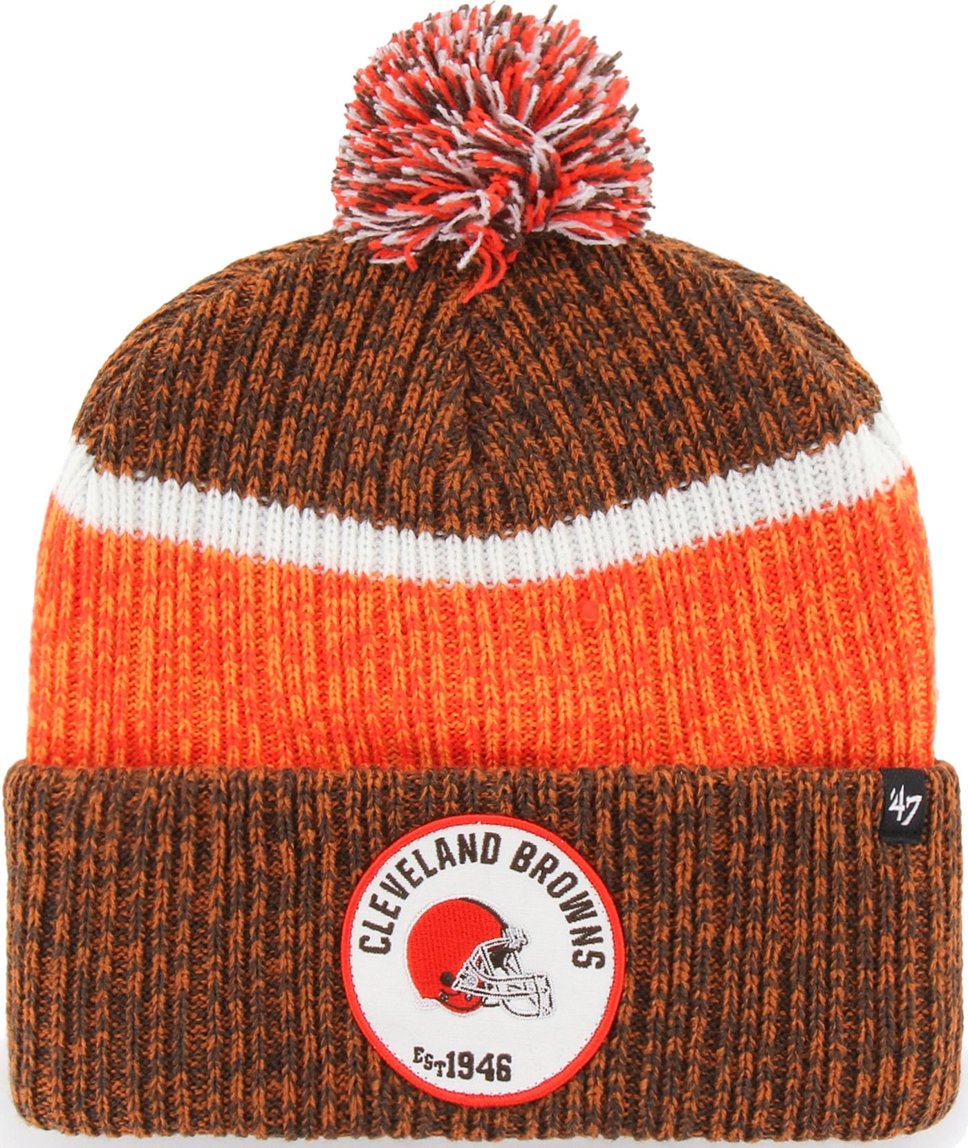 '47 Men's Cleveland Browns Holcomb Brown Cuffed Pom Knit