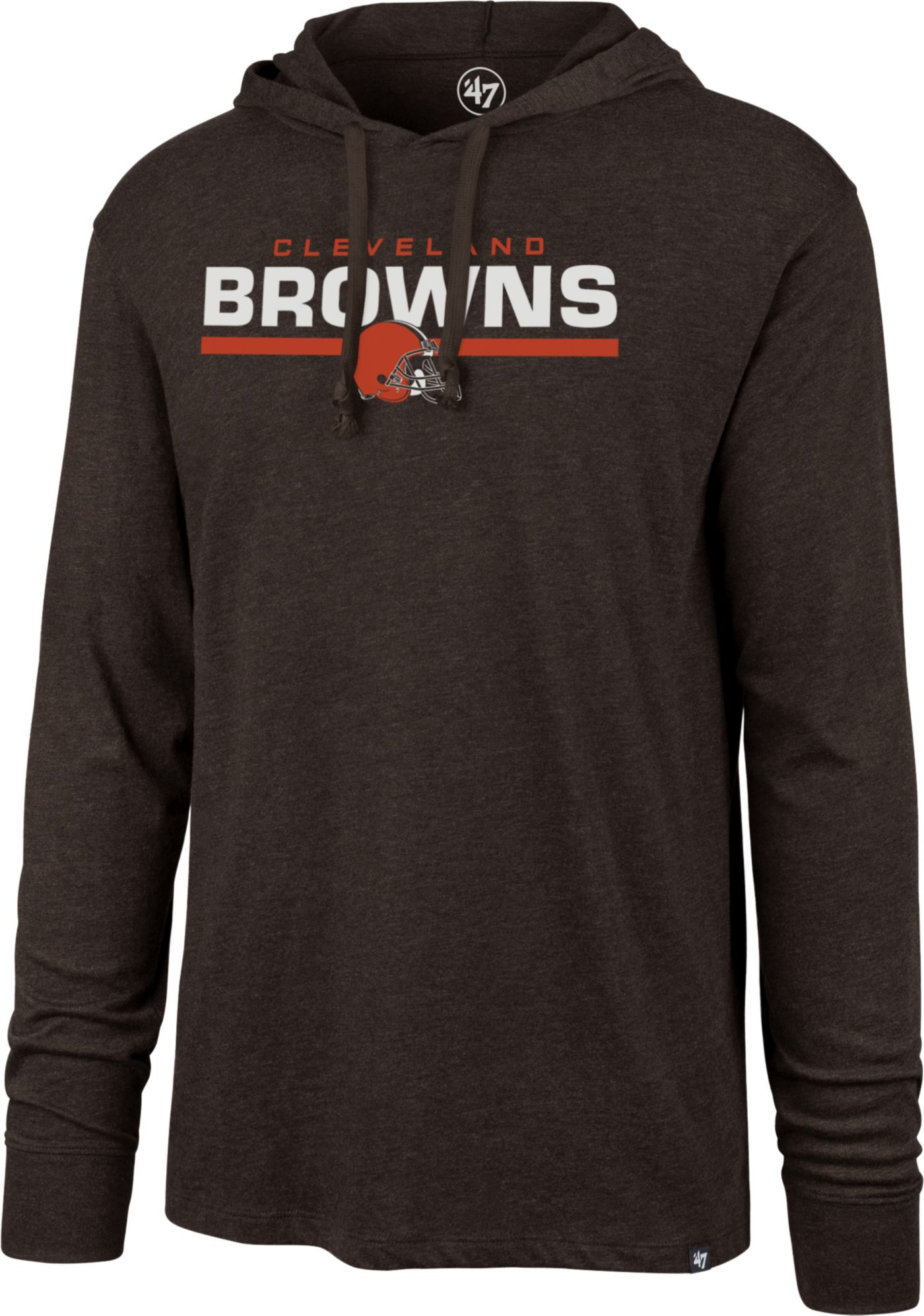 '47 Men's Cleveland Browns Club Brown Hooded Long Sleeve Shirt