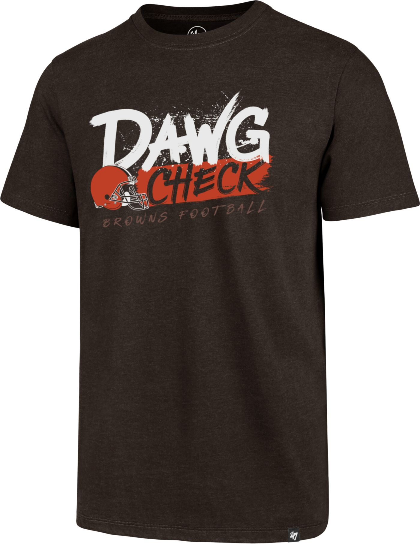 '47 Men's Cleveland Browns Dawg Check Brown T-Shirt