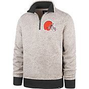 '47 Men's Cleveland Browns Kodiak Quarter-Zip Oatmeal Top