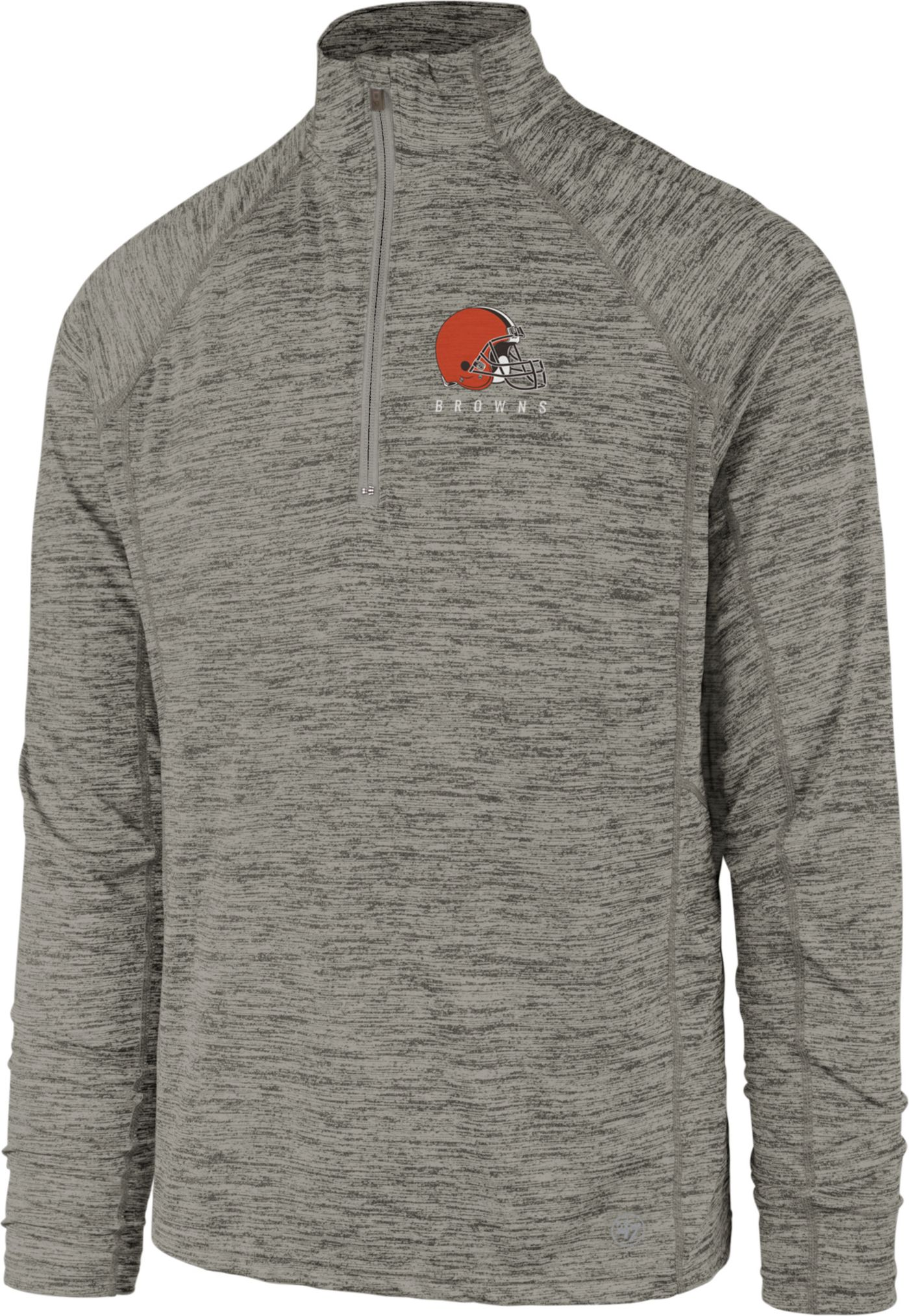 '47 Men's Cleveland Browns Impact Grey Quarter-Zip Pullover