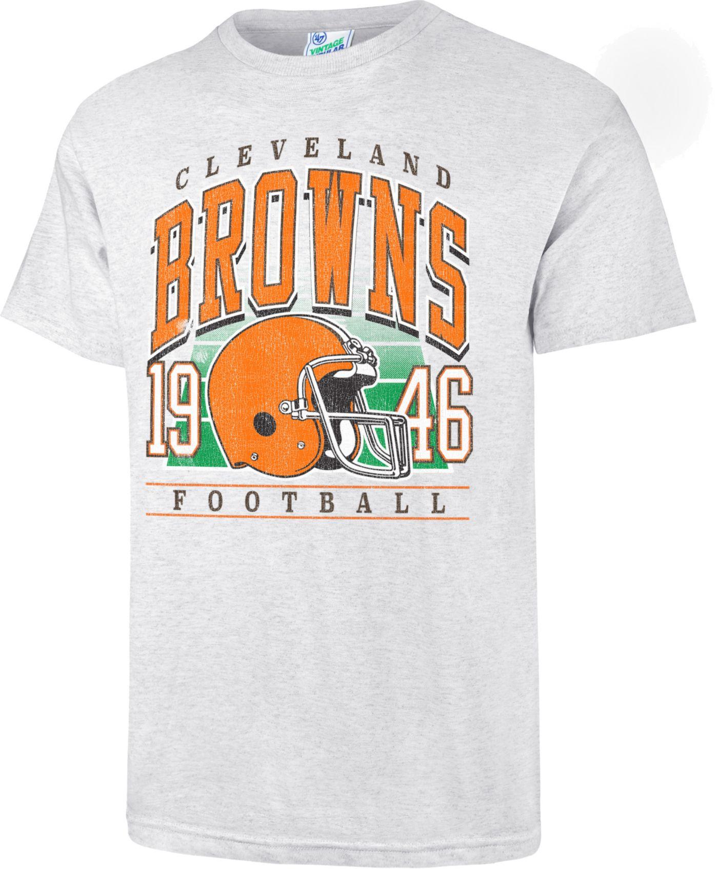 '47 Men's Cleveland Browns Tubular Grey Throwback T-Shirt