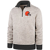 '47 Men's Cleveland Browns Oatmeal Kodiak Quarter-Zip