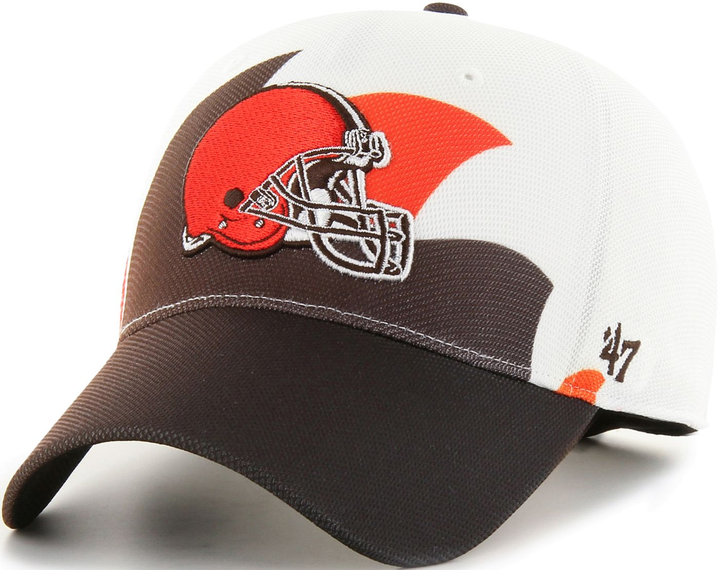 '47 Men's Cleveland Browns Wave Solo White Stretch Fit Hat