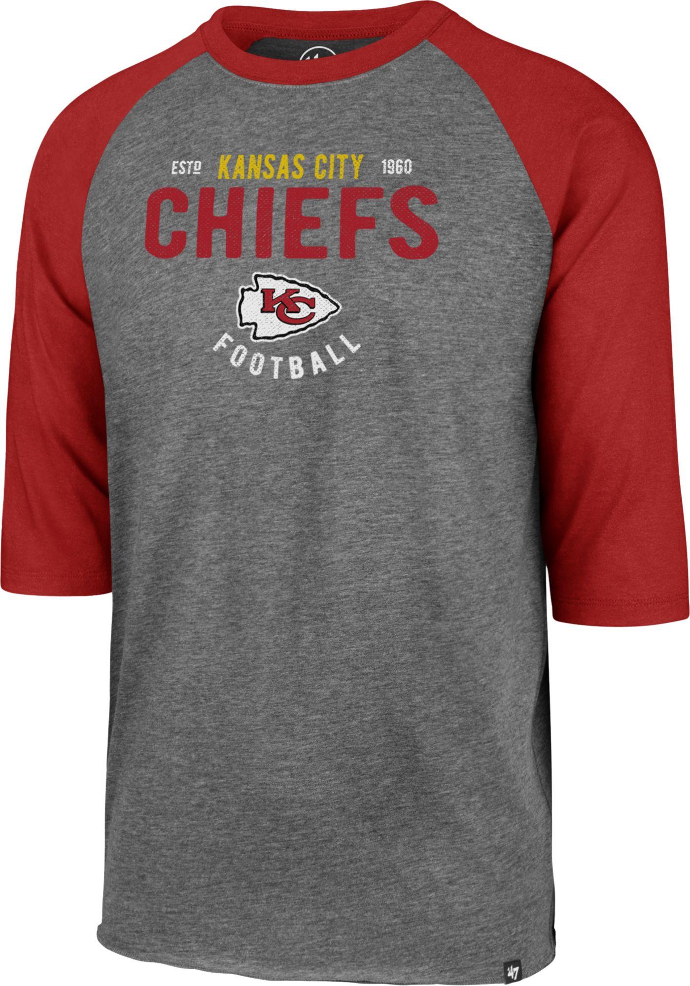 '47 Men's Kansas City Chiefs Club Grey Raglan Shirt