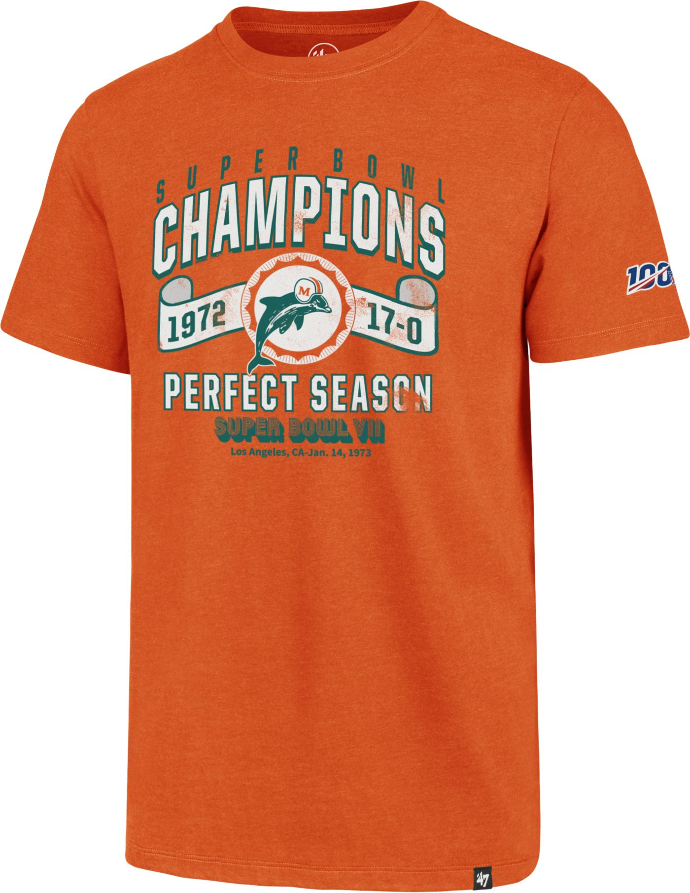 '47 Men's Miami Dolphins 100th Club Throwback Orange T-Shirt