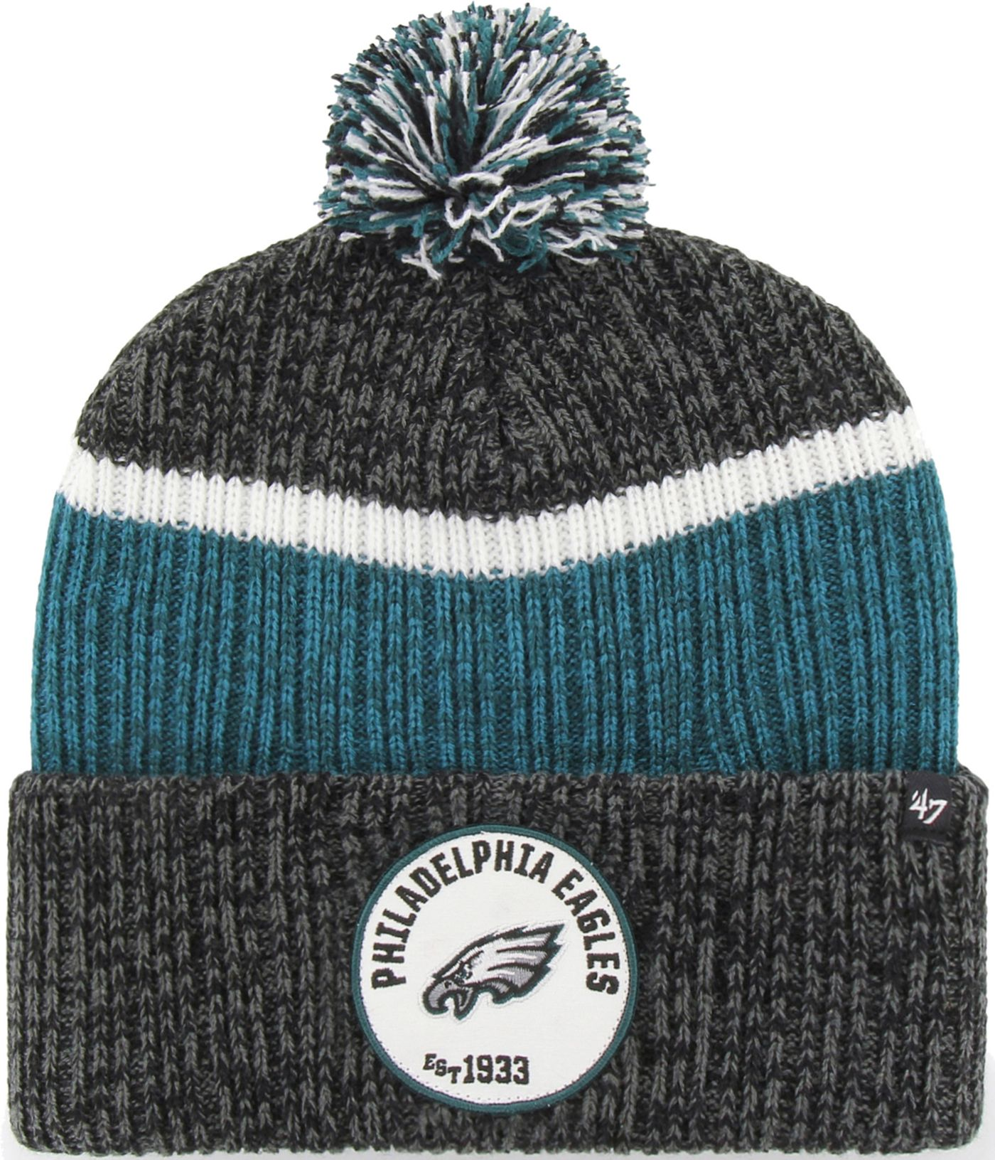 '47 Men's Philadelphia Eagles Holcomb Black Cuffed Pom Knit