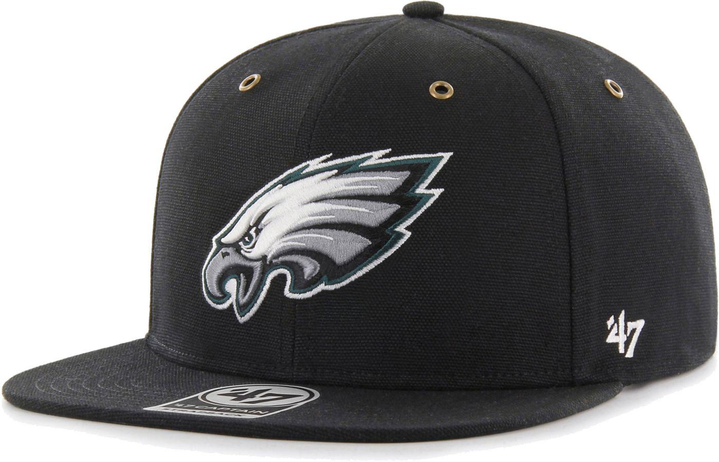 '47 Men's Philadelphia Eagles Carhartt Captain Adjustable Black Hat