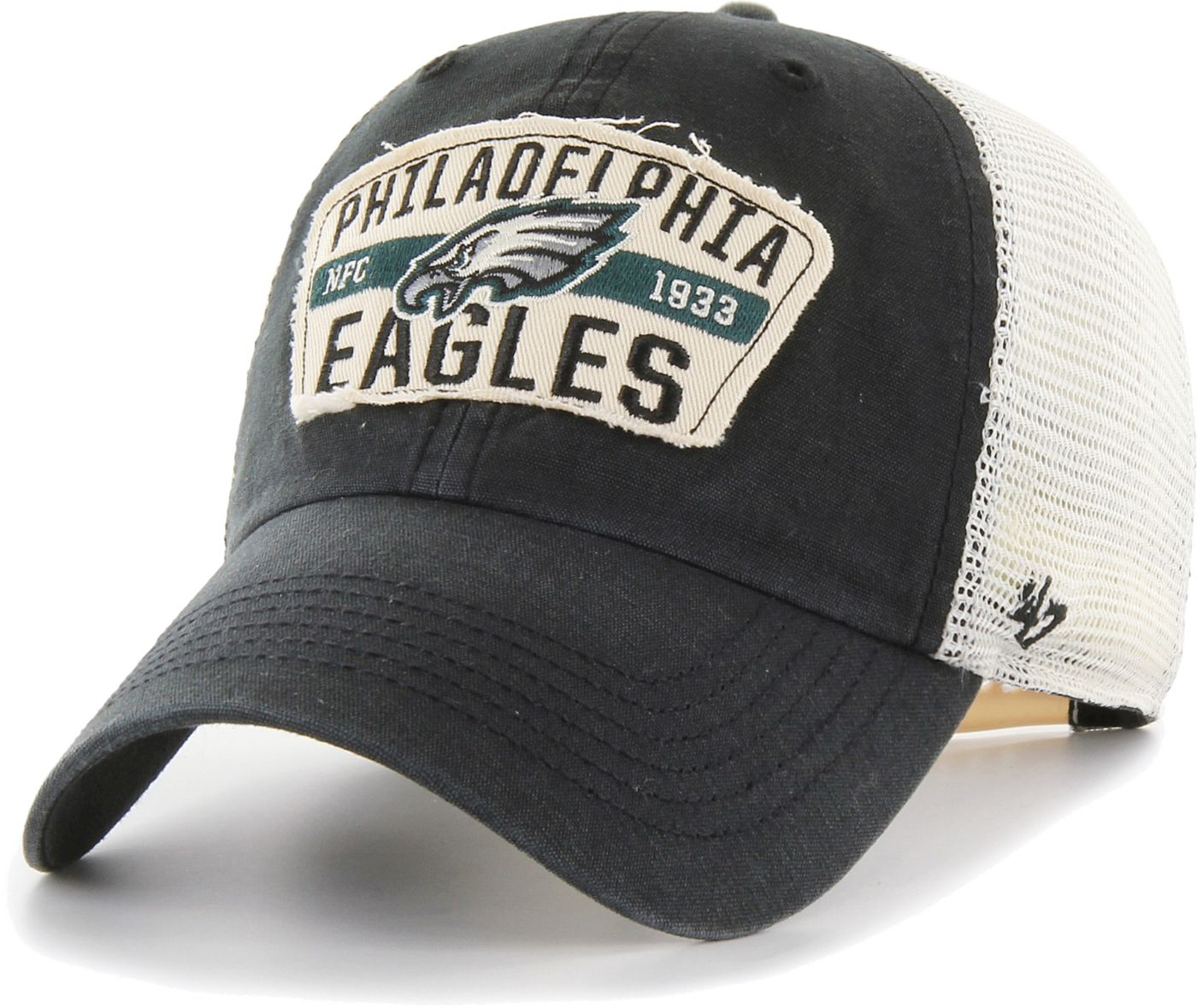 '47 Men's Philadelphia Eagles Crawford Clean Up Adjustable Black Hat