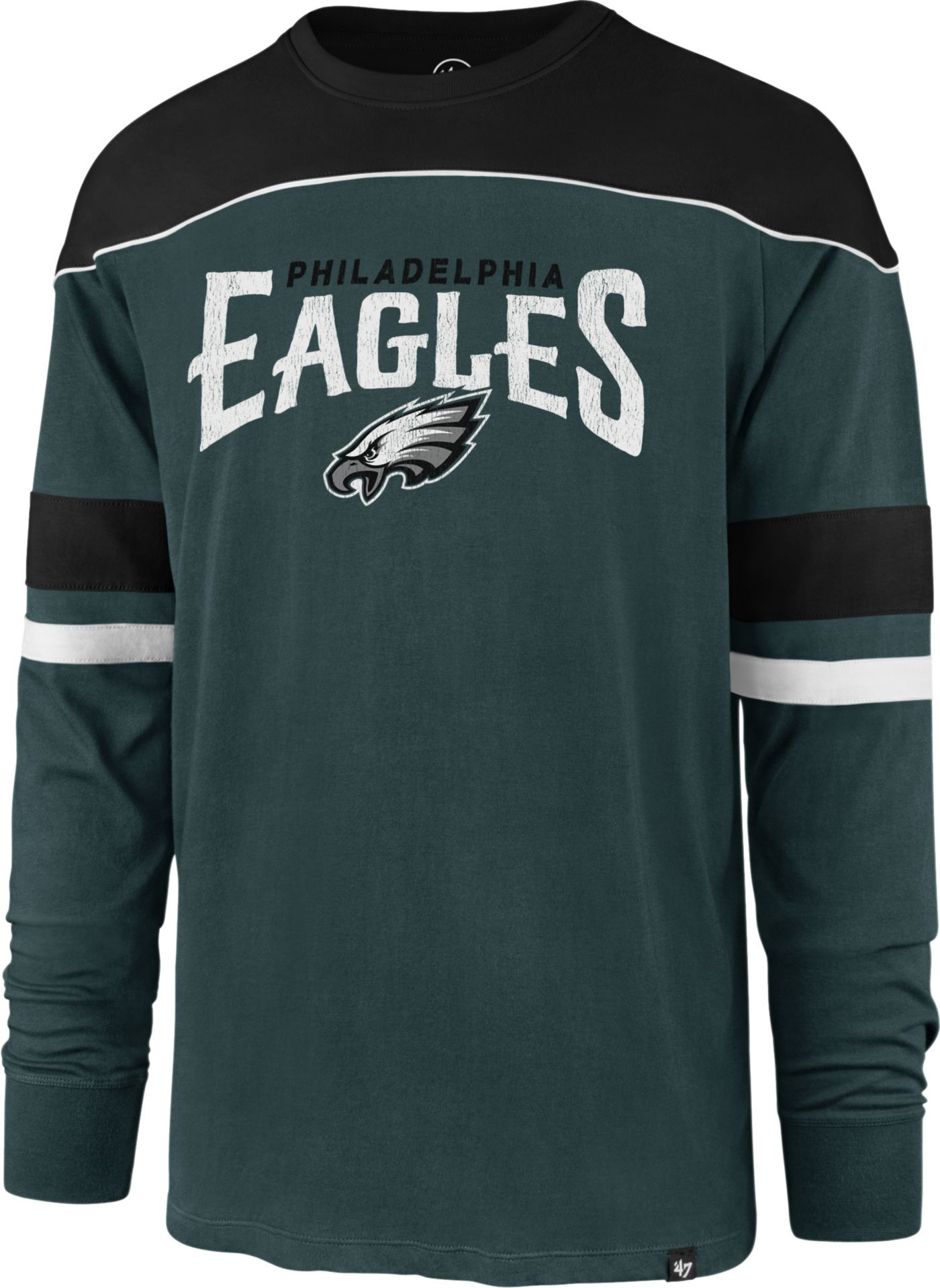 '47 Men's Philadelphia Eagles Win Streak Green Long Sleeve Shirt