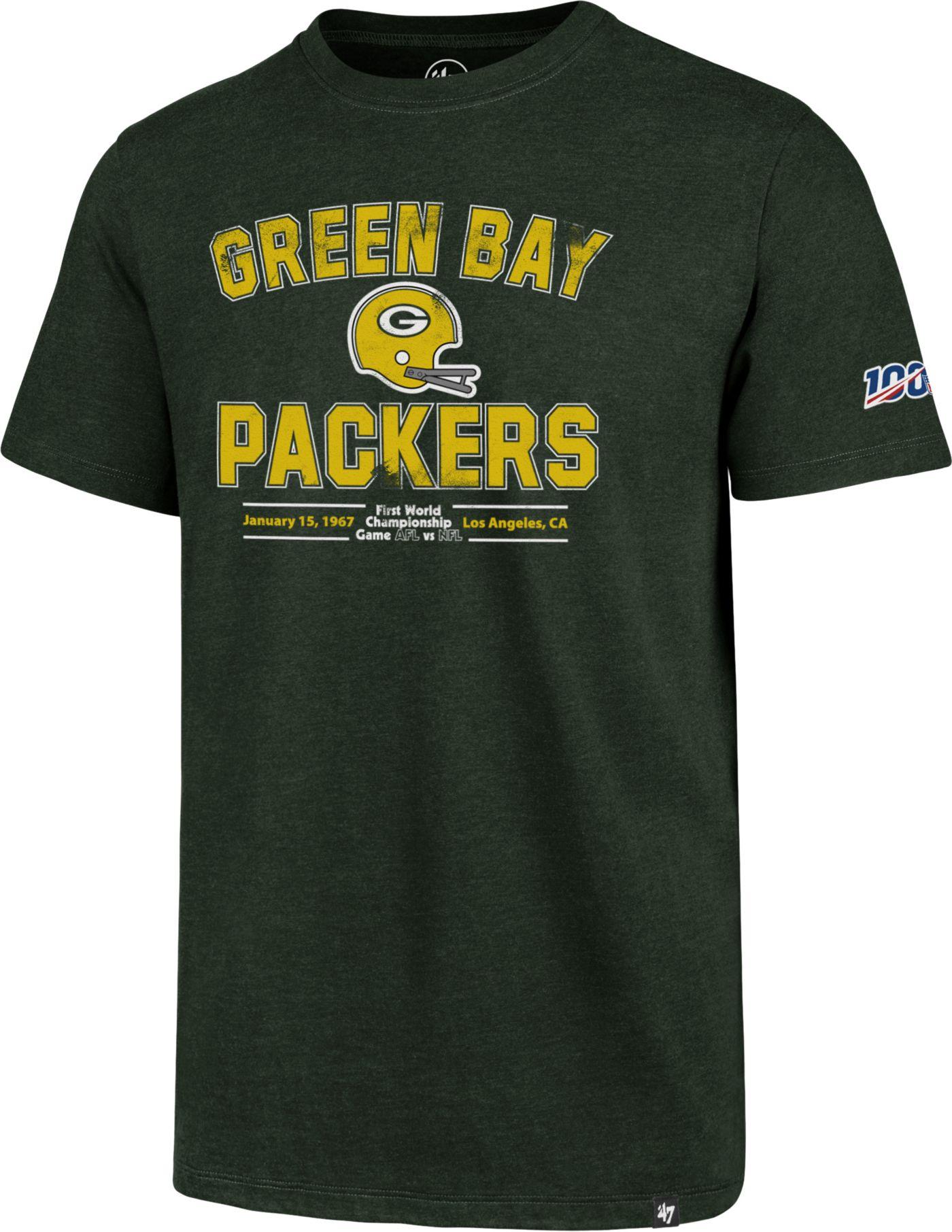 '47 Men's Green Bay Packers 100th Club Throwback Green T-Shirt
