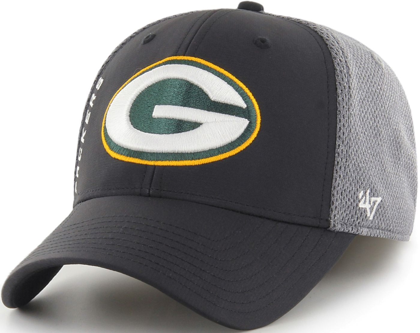 '47 Men's Green Bay Packers Wycliff Contender Stretch Fit Black Hat