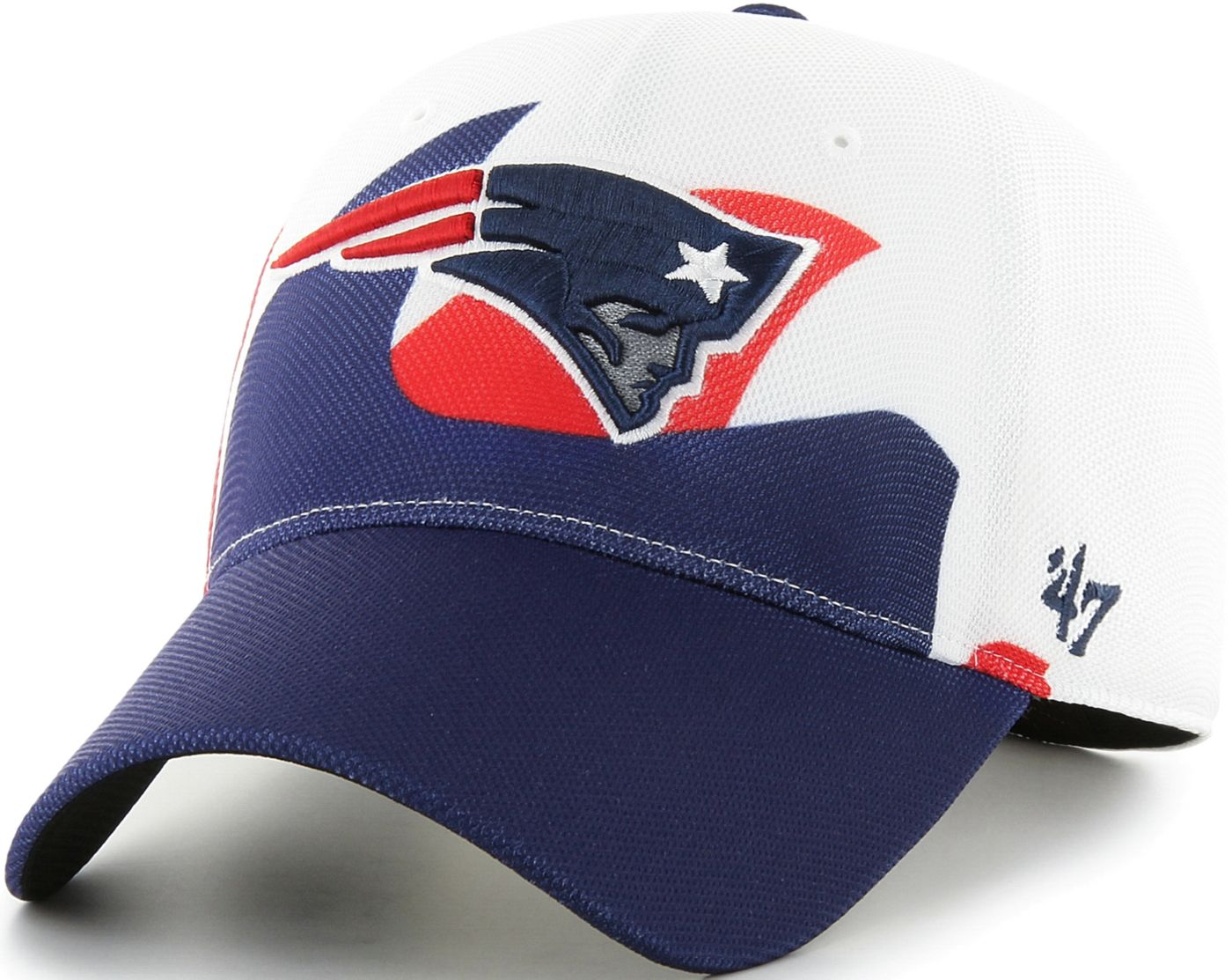 '47 Men's New England Patriots Wave Solo White Stretch Fit Hat