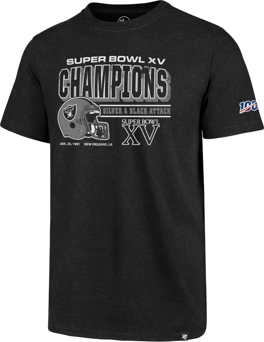 super popular c7678 1b45e '47 Men's Oakland Raiders 100th Club Black T-Shirt