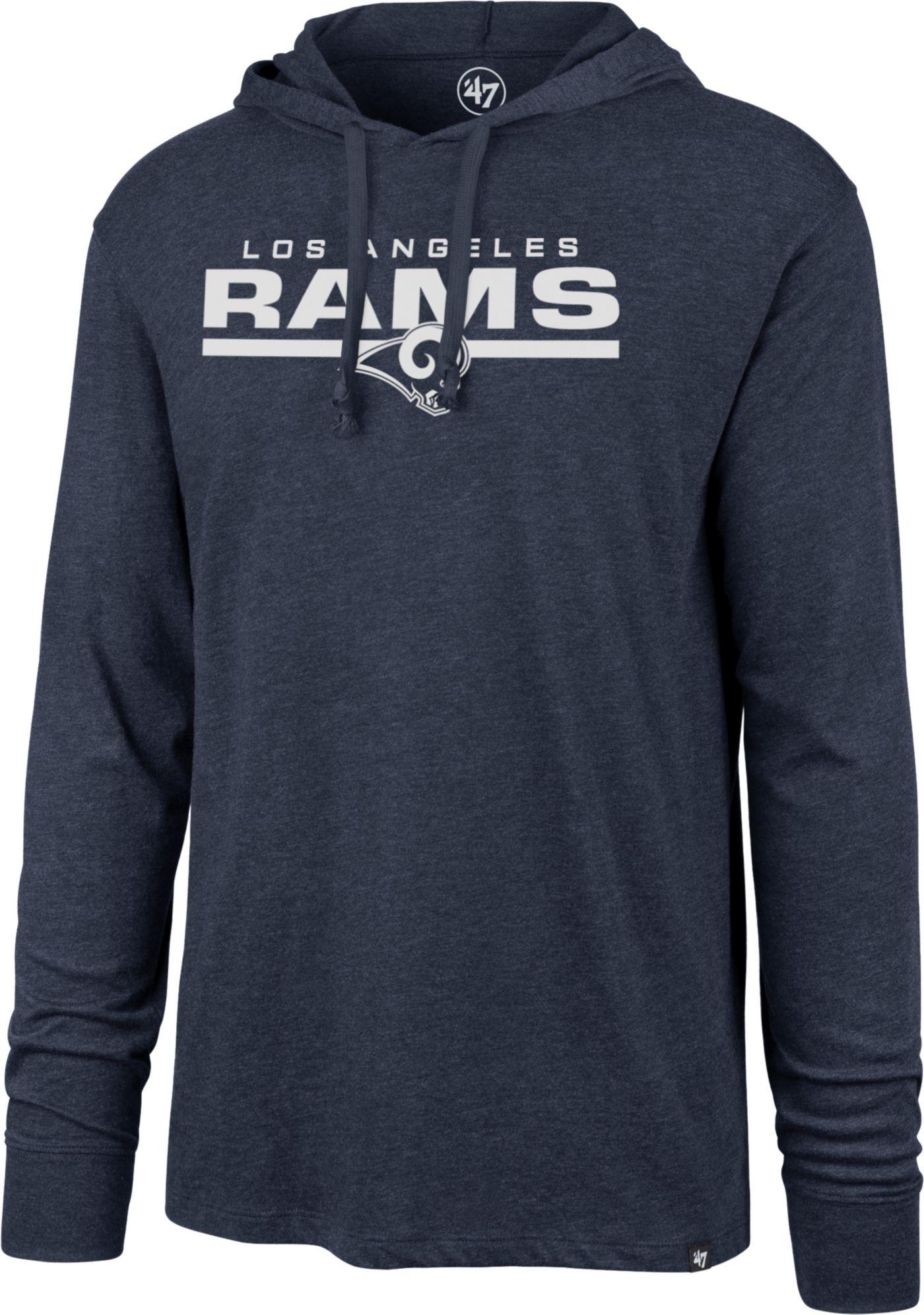 '47 Men's Los Angeles Rams Club Navy Hooded Long Sleeve Shirt