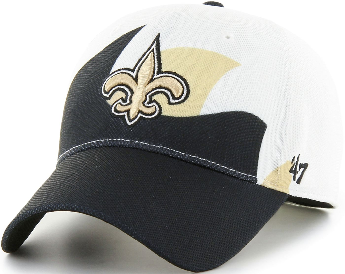 '47 Men's New Orleans Saints Wave Solo White Stretch Fit Hat