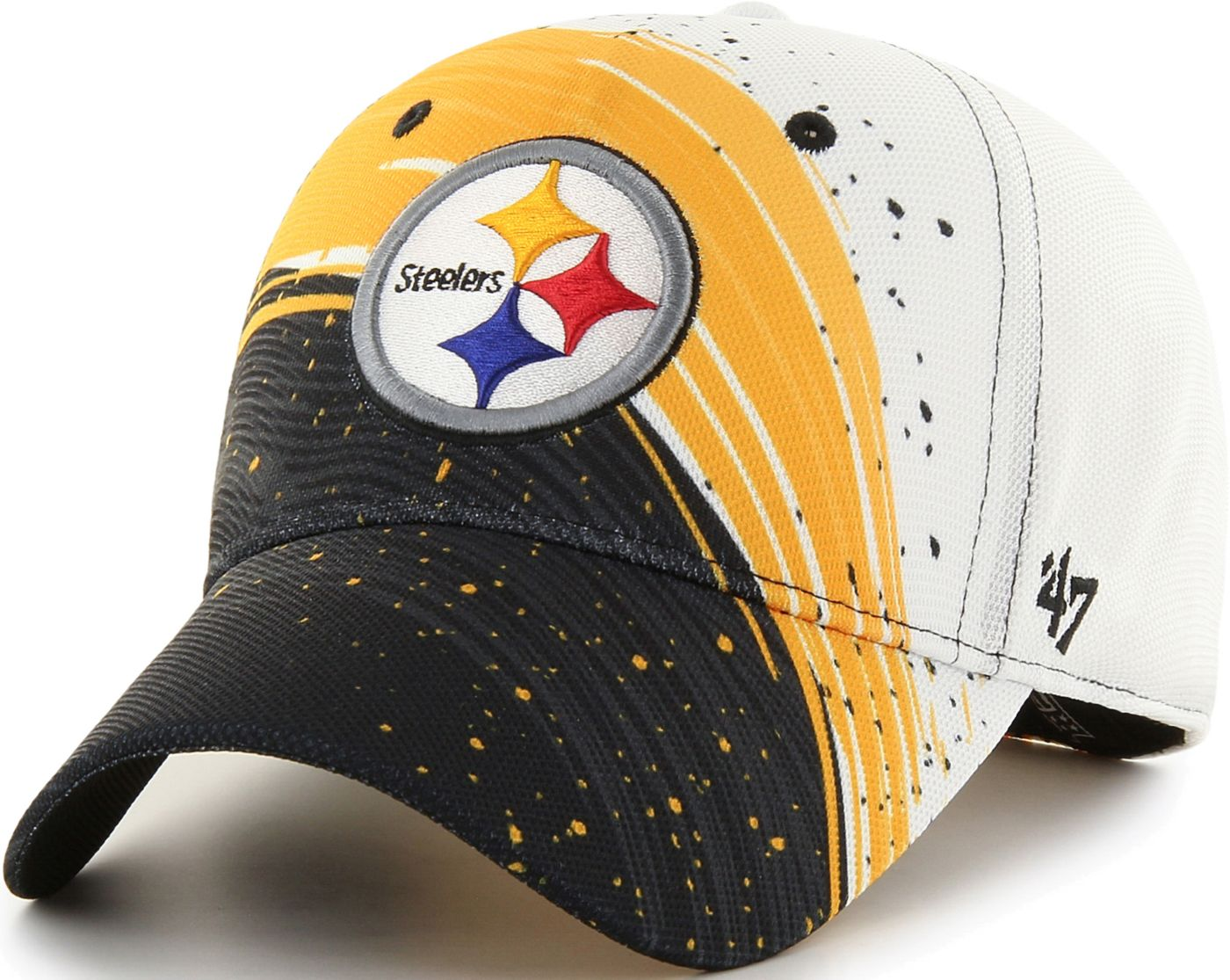 '47 Men's Pittsburgh Steelers Splash Solo Black Stretch Fit Hat