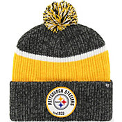 '47 Men's Pittsburgh Steelers Holcomb Black Cuffed Pom Knit