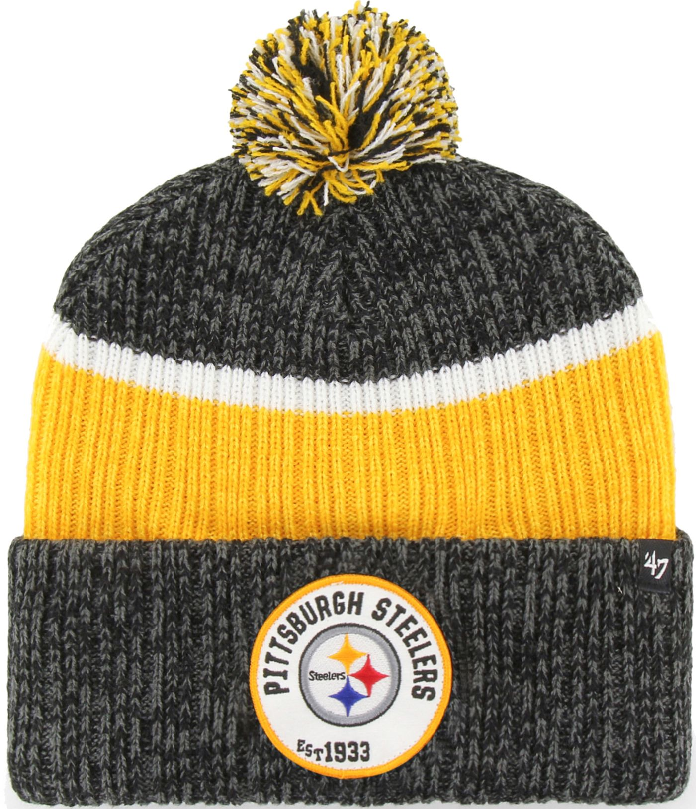 '47 Men's Pittsburgh Steelers Holcomb Black Cuffed Pom Knit
