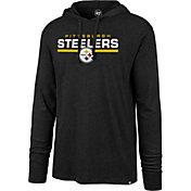'47 Men's Pittsburgh Steelers Club Black Hooded Long Sleeve Shirt