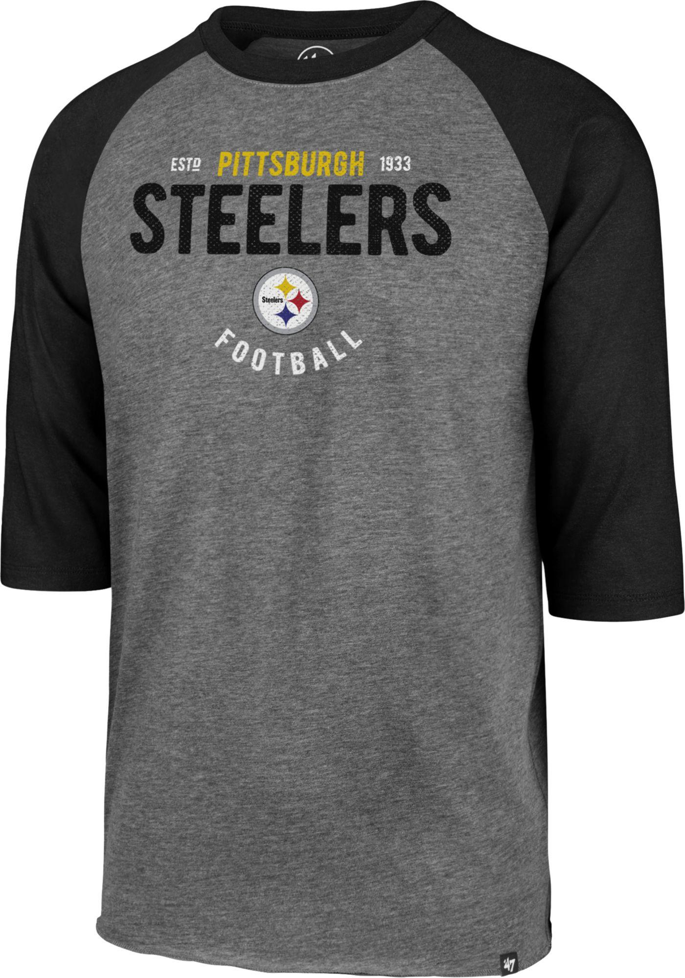 '47 Men's Pittsburgh Steelers Club Grey Raglan Shirt