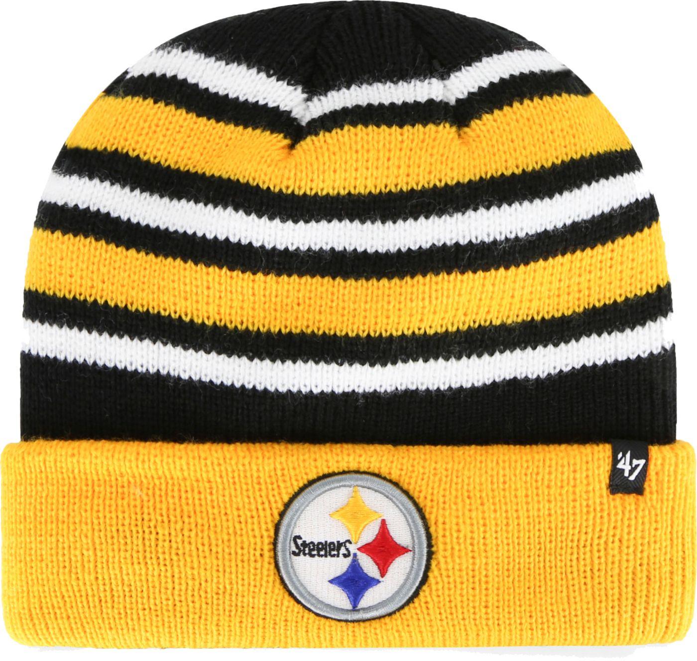 '47 Men's Pittsburgh Steelers Rotation Black Cuffed Knit