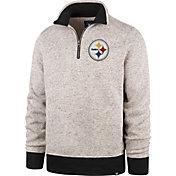 '47 Men's Pittsburgh Steelers Oatmeal Kodiak Quarter-Zip