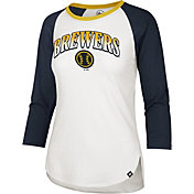 '47 Women's Milwaukee Brewers Navy Splitter Raglan Three-Quarter Sleeve T-Shirt
