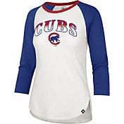 '47 Women's Chicago Cubs Blue Splitter Raglan Three-Quarter Sleeve T-Shirt