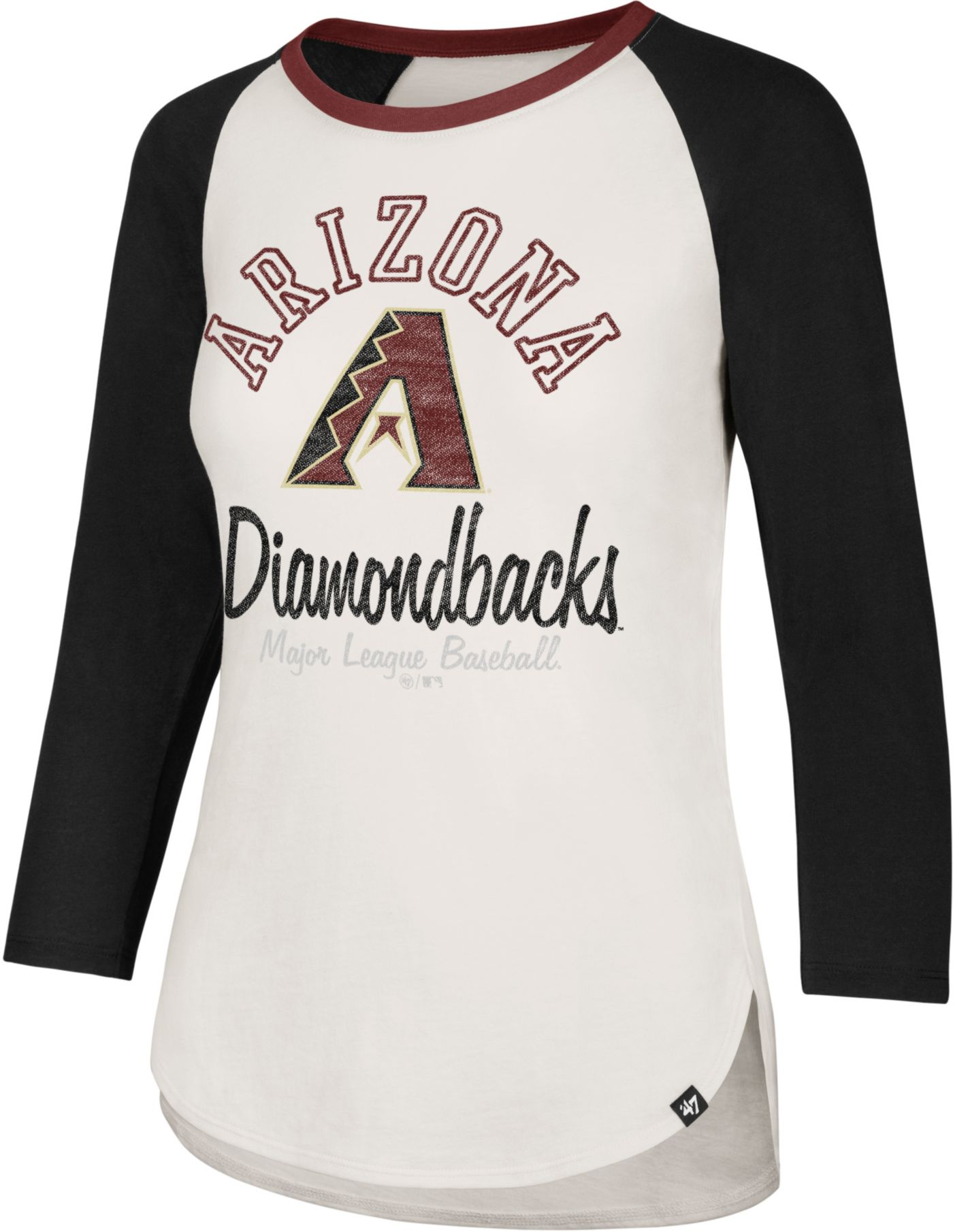 '47 Women's Arizona Diamondbacks Splitter Raglan Three-Quarter Sleeve Shirt
