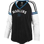 '47 Women's Miami Marlins Black Prime Long Sleeve V-Neck T-Shirt