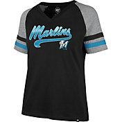 '47 Women's Miami Marlins Black Pavilion V-Neck T-Shirt