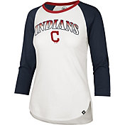 '47 Women's Cleveland Indians Red Splitter Raglan Three-Quarter Sleeve T-Shirt