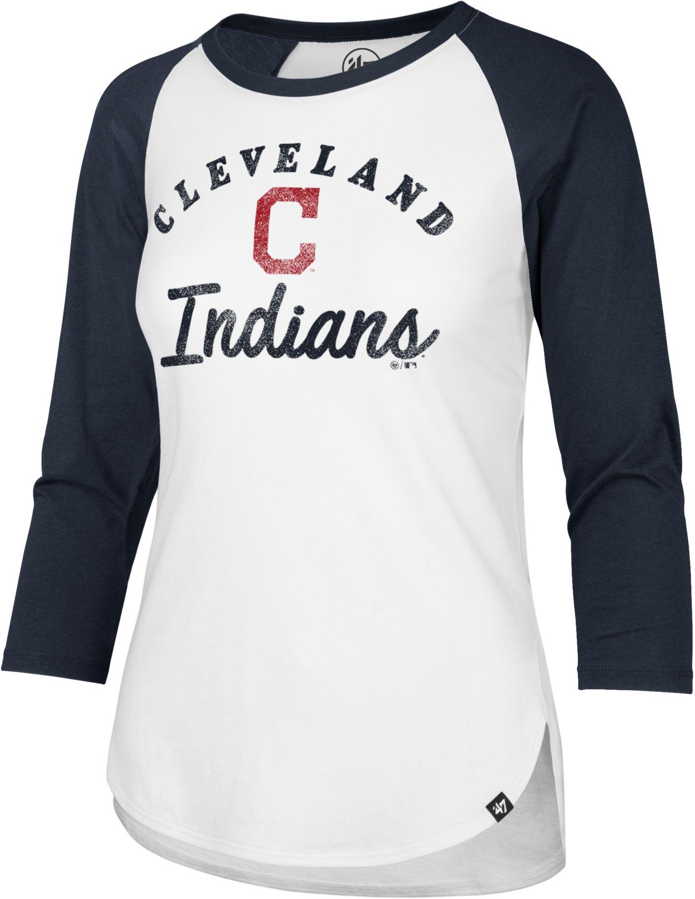 '47 Women's Cleveland Indians Splitter Raglan Three-Quarter Sleeve Shirt