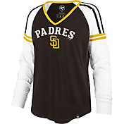 '47 Women's San Diego Padres Brown Prime Long Sleeve V-Neck Shirt