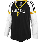 '47 Women's Pittsburgh Pirates Black Prime Long Sleeve V-Neck Shirt