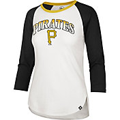 '47 Women's Pittsburgh Pirates Black Splitter Raglan Three-Quarter Sleeve T-Shirt