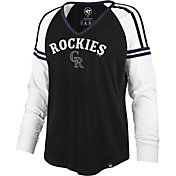 '47 Women's Colorado Rockies Black Prime Long Sleeve V-Neck Shirt