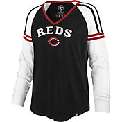 '47 Women's Cincinnati Reds Black Prime Long Sleeve V-Neck Shirt