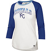 '47 Women's Kansas City Royals Royal Blue Splitter Raglan Three-Quarter Sleeve T-Shirt