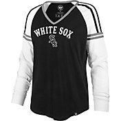 '47 Women's Chicago White Sox Black Prime Long Sleeve V-Neck Shirt