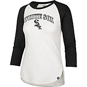 '47 Women's Chicago White Sox Black Splitter Raglan Three-Quarter Sleeve T-Shirt