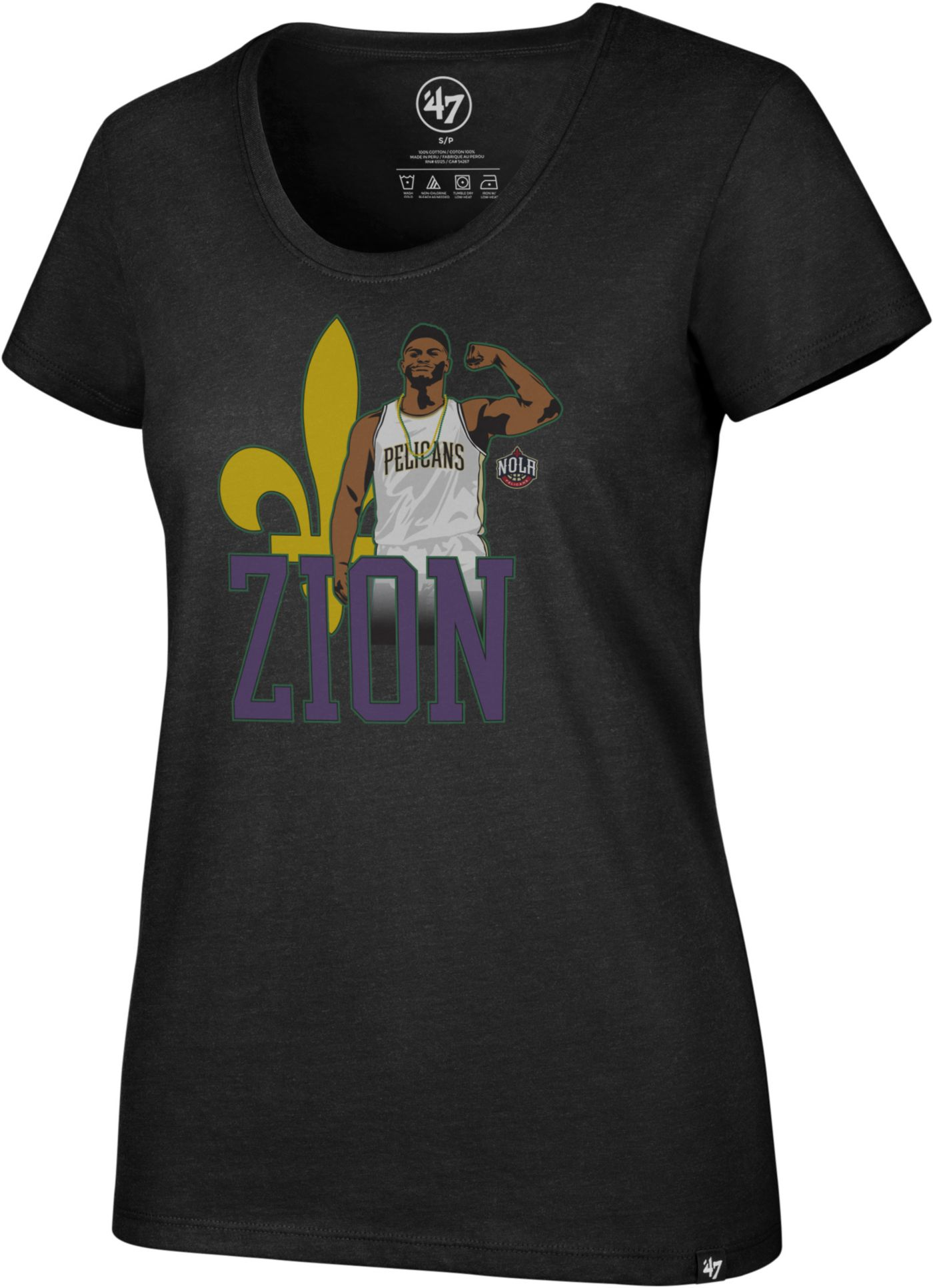 '47 Women's New Orleans Pelicans Zion Williamson Black Scoop Neck T-Shirt