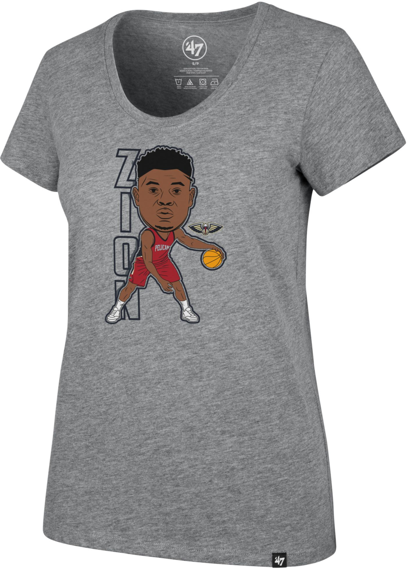 '47 Women's New Orleans Pelicans Zion Williamson Grey Scoop Neck T-Shirt