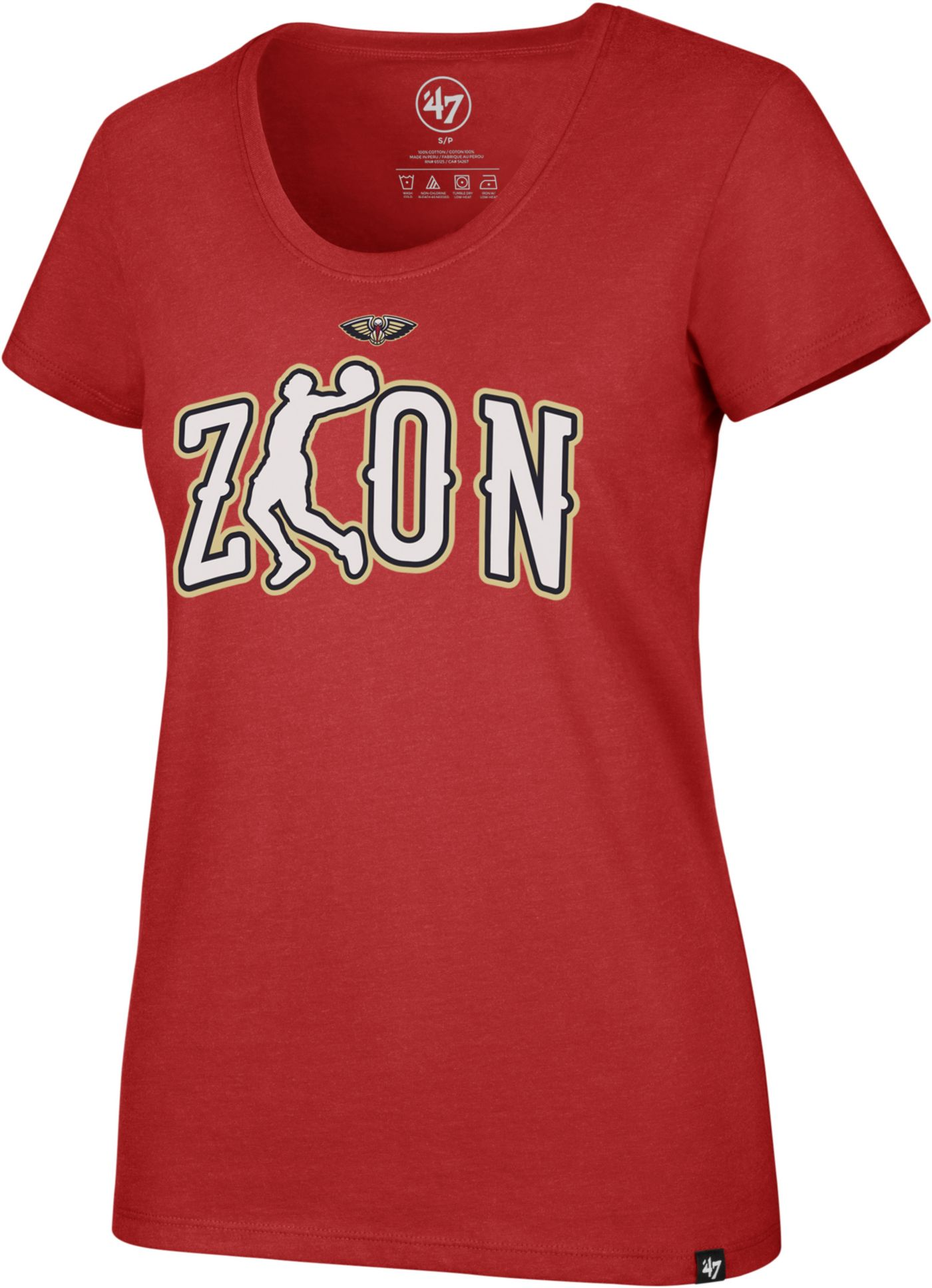 '47 Women's New Orleans Pelicans Zion Williamson Red Scoop Neck T-Shirt