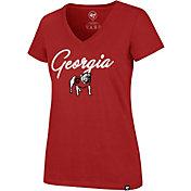 '47 Women's Georgia Bulldogs Red Glimmer V-Neck T-Shirt