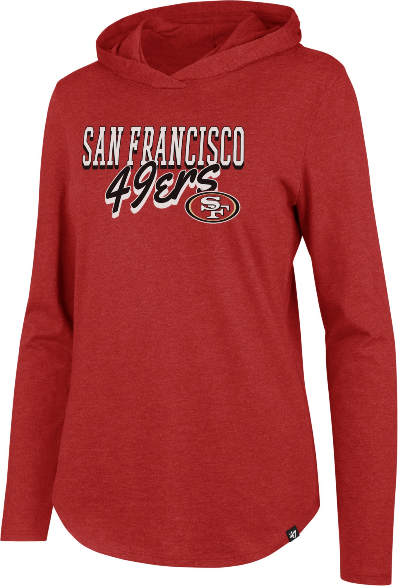 3a5dec8f '47 Women's San Francisco 49ers Club Red Hooded Long Sleeve Shirt