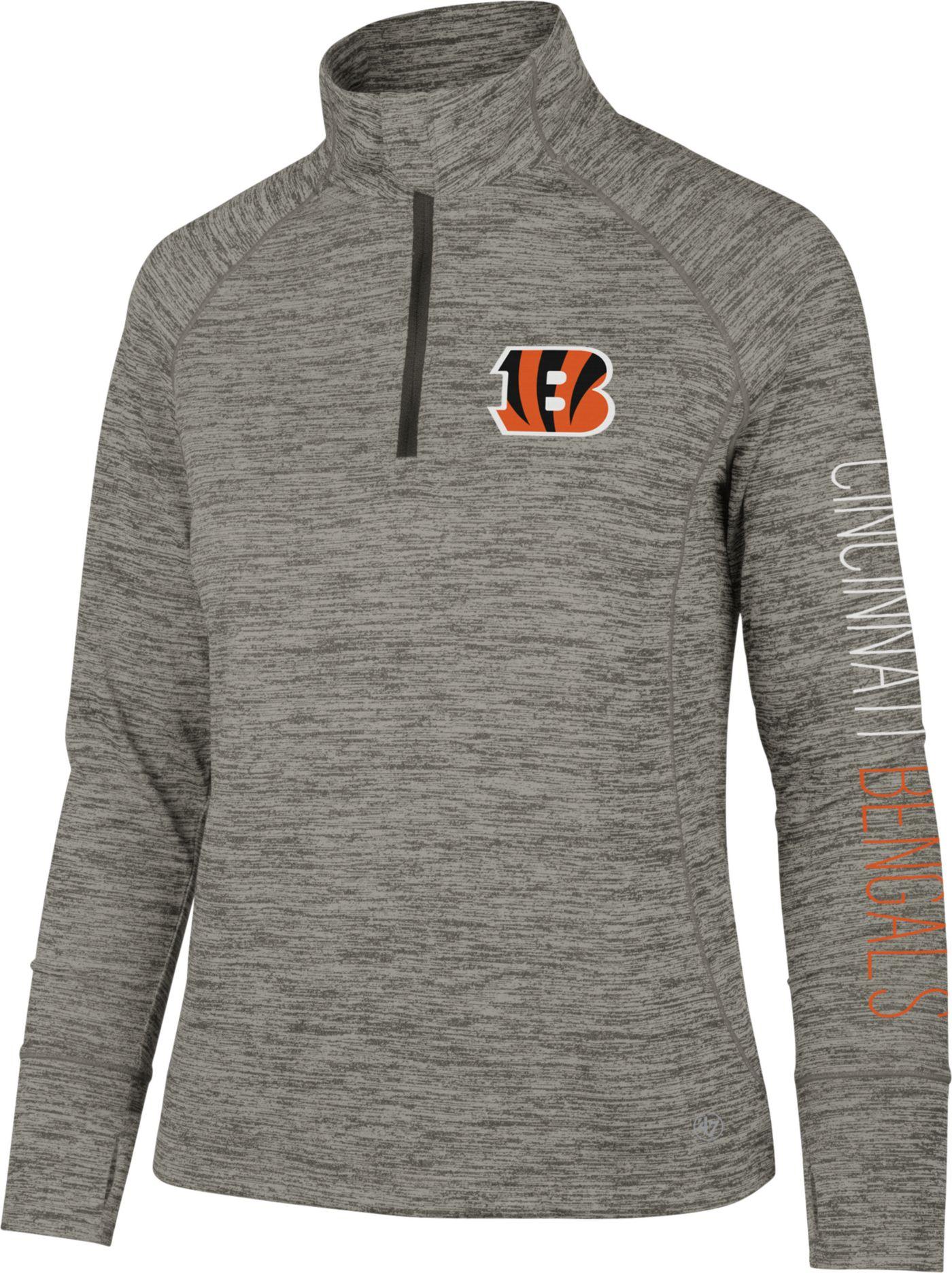 '47 Women's Cincinnati Bengals Impact Grey Quarter-Zip Pullover