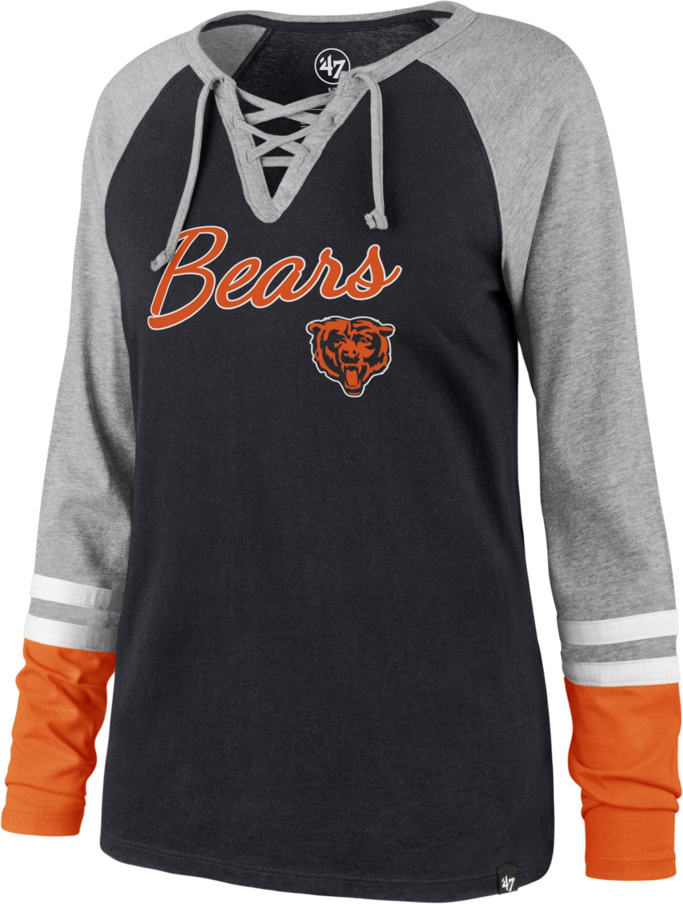 '47 Women's Chicago Bears Fastbreak Lace-Up Long Sleeve Navy Shirt